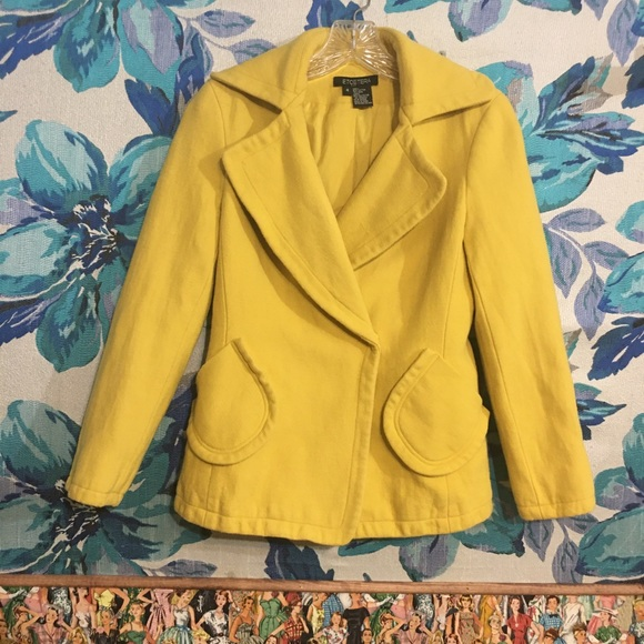 Etcetera Jackets & Blazers - Bright Yellow Peacoat Jacket Cotton Wool